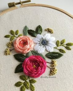 "7/"" Pink Flower Scroll Strip Embroidery Applique Patch"