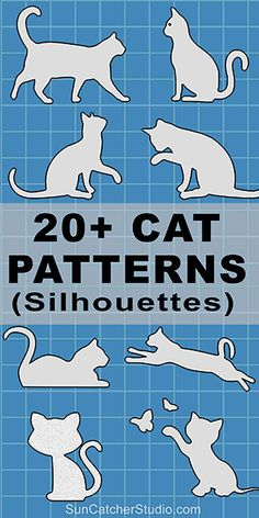 Cat silhouettes patterns, stencils, and templates for coloring, scroll saw, laser cutting. Cat Quilt Patterns, Stencil Patterns, Applique Patterns, Stencil Templates, Wood Patterns, Cross Patterns, Knitting Patterns, Clipart, Cat Template