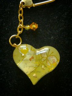 Heart keychain yellow
