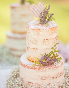 Naked Cake with Dusted Powdered Sugar Frosting - Lavender and Baby's Breath decoration