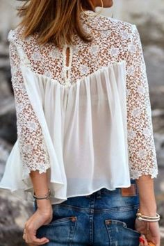 e103c12c145 Gorgeous white stylish lace blouse with denim stylish jeans and braslate  the best summer street style inspiration   fabulous fashion trend