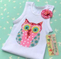 Baby Singlet Tank Happy Hooting Pink Owl by LilBirdieShop on Etsy, $18.00