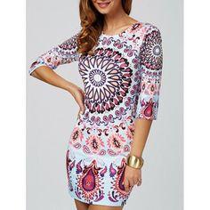 Paisley Print Bodycon Mini Dress
