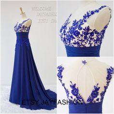 Royal Blue Prom Dresses Long A-line Women Formal by jayfashion