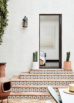 sfgirlbybay / bohemian modern style from a san francisco girl Porch Tile, Patio Tiles, Outdoor Tiles, Outdoor Flooring, Exterior Design, Interior And Exterior, Exterior Tiles, Le Riad, Home Plans
