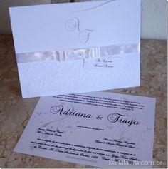 Karla Laura Convites, Lembranças e Papelaria Personalizada: Convite de Casamento com renda e iniciais - Adrian...