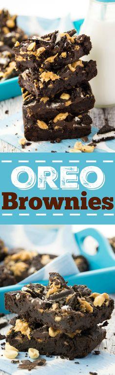 Vegane Erdnussbutter Oreo Brownies. So unglaublich lecker und schokoladig!