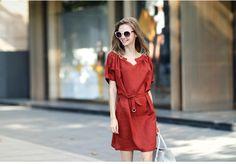 Short-Sleeve Linen Dress with Sash - Angel Shine | YESSTYLE United Kingdom