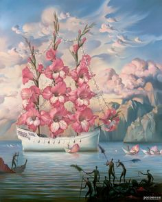 Arrival of the Flower Ship by Russian born surrealist painter and sculptor Vladimir Kush