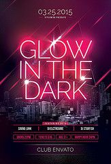 Glow In The Dark Flyer (styleWish studio) Tags: city party urban house inspiration black skyline modern club night photoshop dark print poster disco lights flyer neon glow shine bright uv creative style file nightclub led glowinthedark laser glowing psd edm template stylish partyflyer psdfile envato graphicriver glowflyer stylewish neonflyer envatomarket