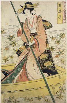 Kitagawa Tsukimaro: Tatsuta-gawa momiji nishiki-e - British Museum Ink Block, Japanese Woodcut, China Painting, Japanese Prints, Japan Art, Triptych, Woodblock Print, British Museum, Art Drawings