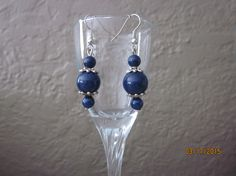 A3 Silver Navy Blue Triple Bead Dangle by ParadiseKreations