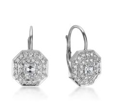 18K White Gold Double Row Pave Octagon Earrings