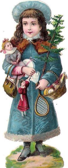 Oblaten Glanzbild scrap die cut chromo Winter Kind child  XMAS Weihnachten tree: