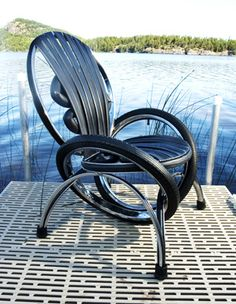 Recycled bike rims and frames! Creative reuse with style. Bike Furniture Design - LCMX Lounge Chairs