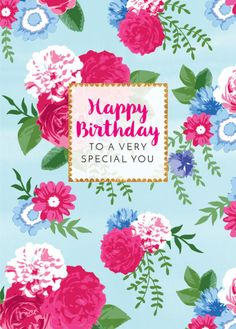 Debbie Edwards - Female Birthday Mothers Day Thank You Thinking Of You Vintage Flowers Floral Background