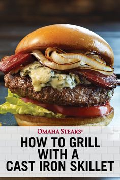 How to grill a perfect burger in a cast iron skillet. Cook your next hamburger the traditional way (on a charcoal grill) inside a cast iron pan with this dual-cooking method for the best burger ever. Cast Iron Skillet Burgers, Cast Iron Steak, Best Cast Iron Skillet, Cast Iron Grill Pan, Iron Skillet Recipes, Cast Iron Recipes, Cast Iron Cooking, Iron Pan, Best Hamburger Recipes