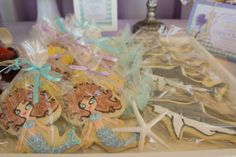Mermaid and shark cookies for an Under the Sea party! Thank you @Kristina Kilmer@A Petite Soiree