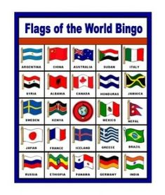 Could use in trivia some way - Flags of the World Bingo - free printable (only enough for 6 players though, but could make more by taping on different flags over a square). Bingo, Around The World Theme, Flags Of The World, My Father's World, We Are The World, World Flags Printable, Olympic Idea, Olympic Games, Olympic Crafts