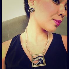Eye of Ra earring and necklace set Eye of ra earring stud set. Beautiful complimentary set Jewelry Necklaces
