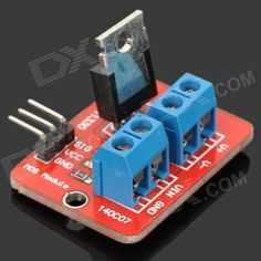 Keyes MOS Driving Module for Arduino - Red + Blue + Black. Adopts IRF520 MOS, can adjust PWM output; Allows Arduino drive 24V load, such as LED lamp strip, DC motor, micro pump and solenoid valve.. Tags: #Electrical #Tools #Arduino #SCM #Supplies #Power