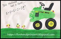To make the Footprint Tractor:I used circles from various items around the house to get a good circle drawn for each of the tires. I looked at tractor images on the web for inspiration. For the baby thumbprint chicks, I used my son's thumbs dipped in yellow paint. After it dried, I drew details and …