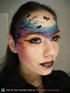 Pictorial on my blog - click on the pic. :) Thanks to all of you who voted and shared, I got to 5th place. Out of 1000+ entries! <3 Halloween make-up look, stars, bat, colourful