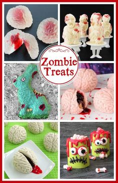 Zombie Themed Desserts are fun to make for Halloween or a zombie themed party. You can make zombie candy cups, zombie popsicles, cake ball brains, peanut butter and jelly fudge brains, and more. Halloween Appetizers, Halloween Desserts, Halloween Treats, Halloween Baking, Halloween Foods, Creepy Halloween, Holiday Desserts, Holiday Treats, Easter Bunny Cake