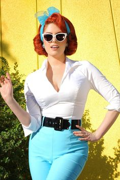 Vintage Inspired Figure Flattering 3/4 Sleeve Workwear Top in White | Pinup Girl Clothing