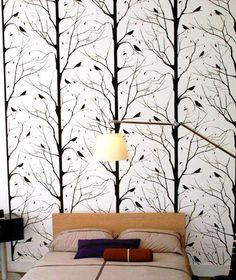 Blackbird Wallpaper in White design by Cavern Home | BURKE DECOR