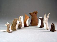 Animals from The Mitten - Little Wool Felt Bear, Fox, Badger, Owl, Rabbit, Hedgehog, Mole, and Mouse Toys