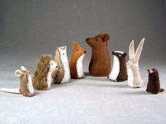 Animals from The Mitten - Little Wool Felt Bear, Fox, Badger, Owl, Rabbit, Hedgehog, Mole, and Mouse Toys  ~  MuddyFeet  Etsy