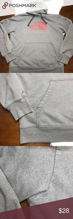 The North Face Men's Grey/Red Hoodie EUC. Light wear from being laundered but no stains or rips. Men's size medium. Grey with red logo from The North Face. The North Face Shirts Sweatshirts & Hoodies