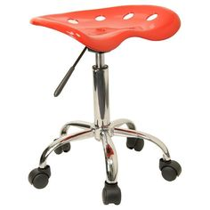 Vibrant Red Tractor Seat and Chrome Stool LF-214A-RED-GG by Flash Furniture