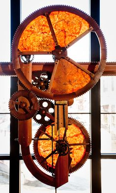 Kinetic Sculpture for the Ale-House, The Ographer's Sundial, recycled brewery parts, western red cedar, walnut, brass, Grafton, WI 2008