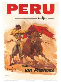 Peru 1950s Vintage Travel Poster Metal Tin Sign Pan American Grace Airlines