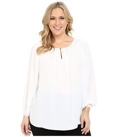 Vince Camuto Specialty Size Plus Size Long Sleeve Shirred Neck Peasant Blouse