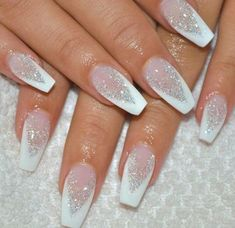 Best Winter Nails for 2017 - 67 Trending Winter Nail Designs - Best Nail Art White Silver Clear Glitter Acrylic Coffin Nails Manicure - French tip - Square shaped long nails - cute summer fall spring fingernails - gel nails - shellac - Xmas Nails, Christmas Nails, Christmas Nail Designs, Holiday Nails, Prom Nails, Christmas Glitter, White Nail Designs, Nail Art Designs, Glitter Nail Designs