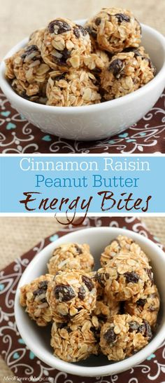 These make-ahead no-bake Cinnamon Raisin Peanut Butter Energy Bites taste just like a cookie! They are perfect for snacks or lunchboxes and taste great when they're cold! http://www.mealplanningmagic.com/cinnamon-raisin-swirl-peanut-butter-energy-bites/