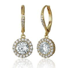 "Women's 2.5 Ct Clear Gold 925 Sterling Silver Round Zirconia CZ Halo Earring 1"" #LeverBackEarrings #DropDangle"