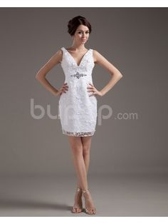 Lace V-Neckline Short Sheath Wedding Dress with Embroidered