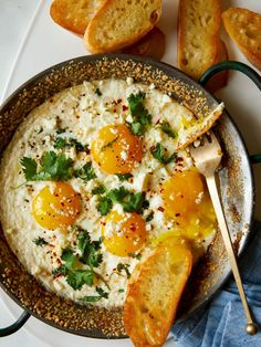 Simple Herb Baked Eggs with Crumbled Cheese