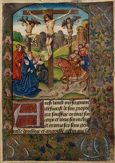 """Illumination from the Vaux Passional showing """"Christ between two thieves"""". ca. 1503."""