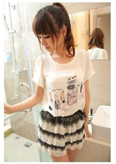 White Chiffon Cute Printed Girlish Korean Fashion Top T-Shirt