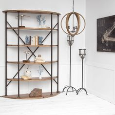 "Large wood shelving unit/ bookcase with black metal cross braces. 58""x18""x82"""