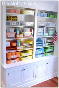 The Moffatt Girls Classroom! I am SO excited to finally be able to share some photos of our classroom with you! This classroom has been a labor of LOVE Classroom Organisation, Teacher Organization, Classroom Setup, Classroom Design, School Classroom, Storage Organization, Household Organization, Smart Storage, Storage Hacks
