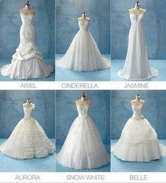 Disney princess wedding dresses.... It's scary to see, I love belle so much, that we have the same taste in wedding dresses!!
