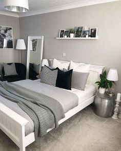 Bedroom decor - 47 Mythical Answers To Master Bedroom Layout Furniture Dressers Disclosed 39 Trendy Bedroom, Modern Bedroom, Bedroom Romantic, Teen Bedroom Colors, Room Color Ideas Bedroom, Grey Bedroom Design, Small Bedroom Designs, Colors For Small Bedrooms, Paint Ideas For Bedroom