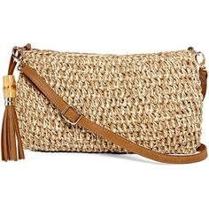 Straw Studios Straw Crossbody Bag (€32) ❤ liked on Polyvore featuring bags, handbags, shoulder bags, straw crossbody handbag, tassel purse, bamboo handbags, straw crossbody and woven purse