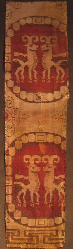 Sasanian silk textile fragment, circa 4th century CE (private collection; photo A. Soudavar).